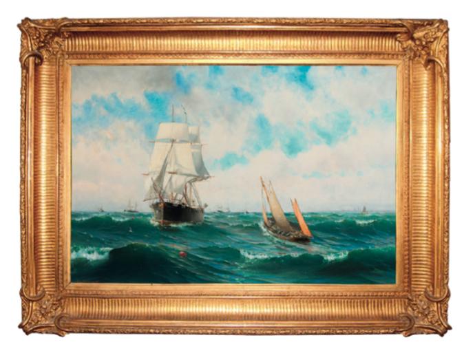 Målning av Arvid Ahlberg, Örlogsskepp vid Vinga